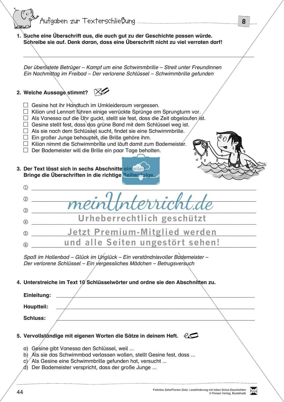 """Leseförderung """"Im Schwimmbad"""": Text +Übungen + Lösungen Preview 4"""