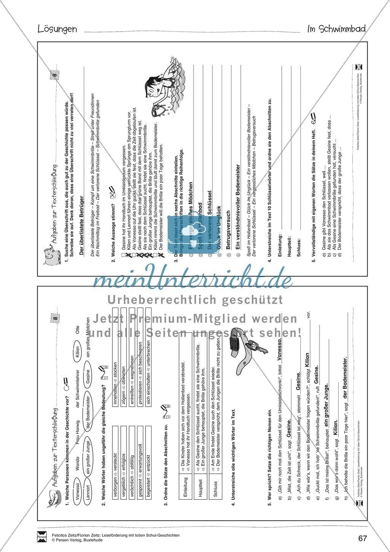 """Leseförderung """"Im Schwimmbad"""": Text +Übungen + Lösungen Preview 6"""
