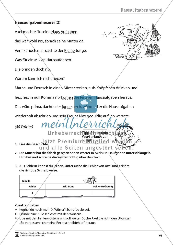 """Alternative Diktatformen: """"Das kommentierte Diktat - Hausaufgabenhexerei - Stufe 2"""" - Lesetext + Aufgaben + Lösungen Preview 2"""