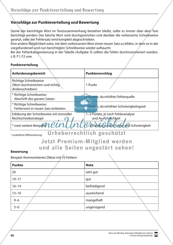 Alternative Diktatformen: Das kommentierte Diktat - Bewertungsschema + Leistungkontrolle Preview 0