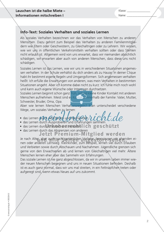 """Alltagskompetenzen: """"Notizen schreiben"""" - Infotext + Aufgaben + Lösungen Preview 2"""