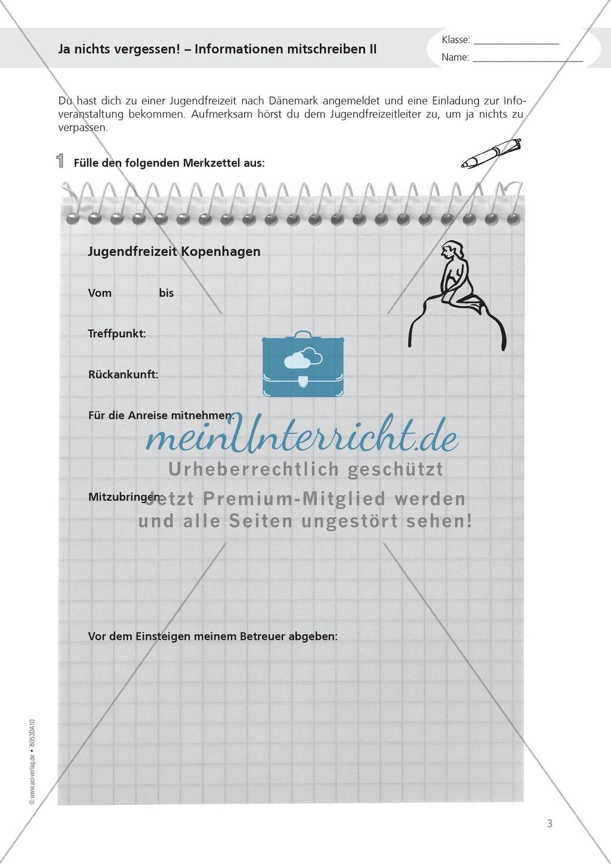 """Alltagskompetenzen: """"Notizen schreiben"""" - Infotext + Aufgaben + Lösungen Preview 3"""
