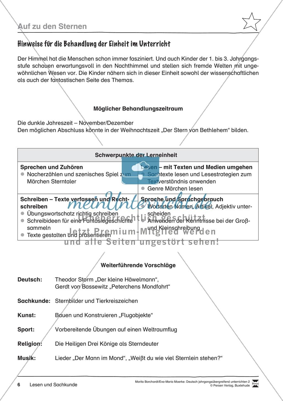 """JÜL - Drei Differenzierungsstufen: """"Auf zu den Sternen"""" - Einführung + Arbeitsblätter + Aufgaben + Lernkontrolle Preview 2"""