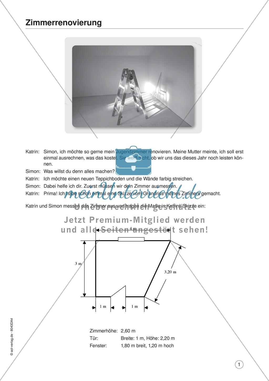 Mathe im Alltag - Mein Zimmer renovieren: Übungen und Lösung ...