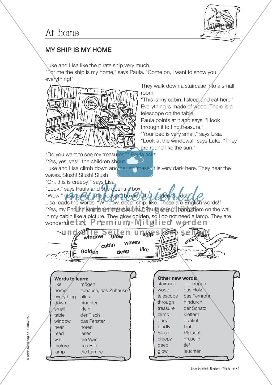 Erste Schritte in Englisch - At home: Übungen und Lösung Preview 0