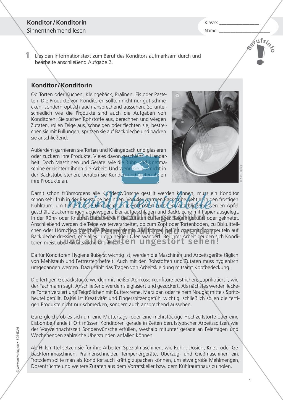 Deutsch-Aufgaben aus dem Alltag - Arbeiten in der Konditorei: Übungen und Lösung Preview 0