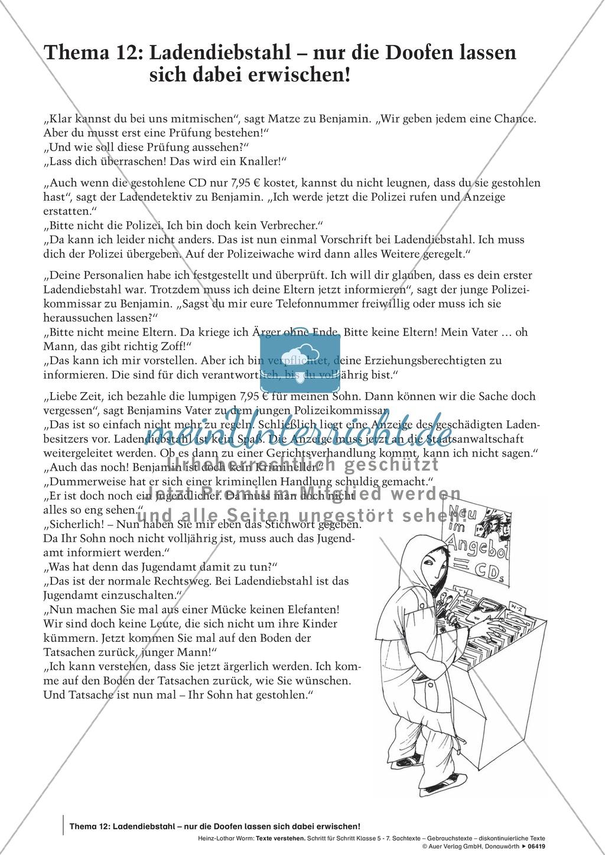 Textverständnis Training: Text, Arbeitsblätter und Lösungsblatt ...