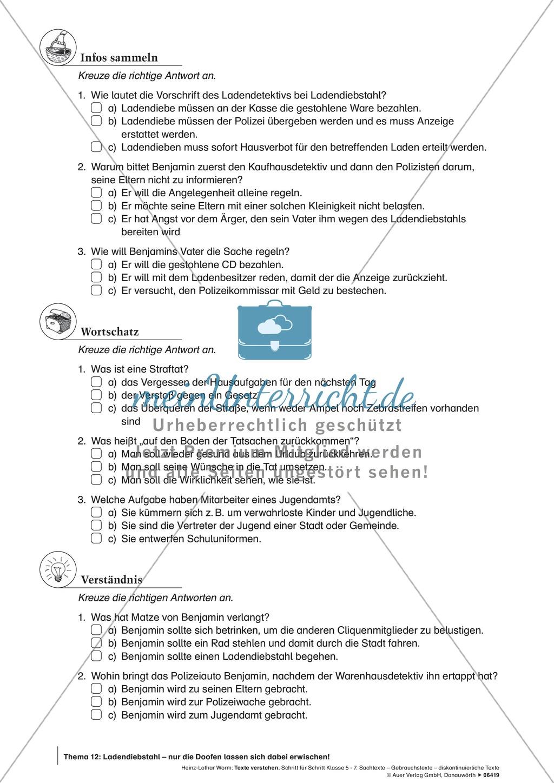 Textverständnis Training: Text, Arbeitsblätter und Lösungsblatt Preview 2
