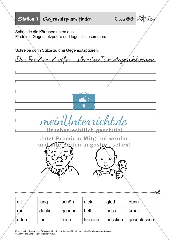Stationentraining Adjektive: Arbeitsblätter und Lösungen Preview 3