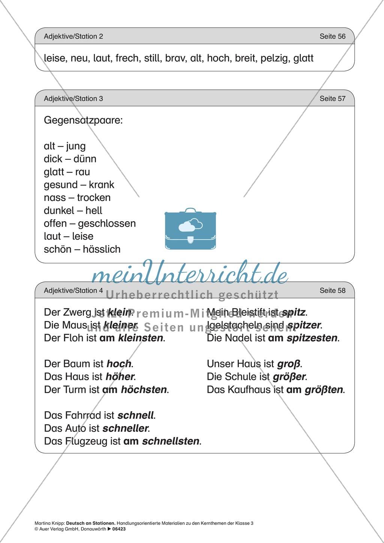 Stationentraining Adjektive: Arbeitsblätter und Lösungen Preview 8