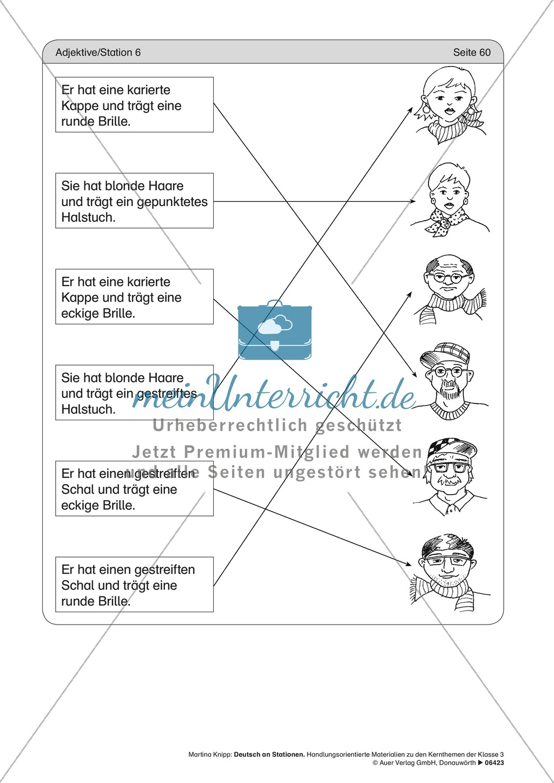Stationentraining Adjektive: Arbeitsblätter und Lösungen Preview 9