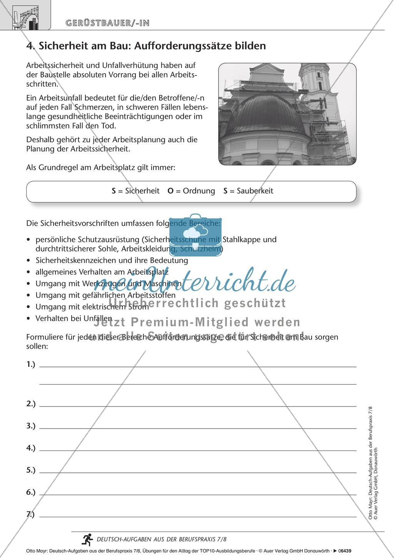 Sicherheit am Bau - Gerüstbaus Deutsch-Aufgaben aus der Berufspraxis ...