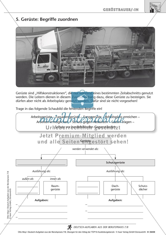 Sicherheit am Bau - Gerüstbaus Deutsch-Aufgaben aus der Berufspraxis Klassen 7/8:  Arbeitsblätter mit Lösungen Preview 1