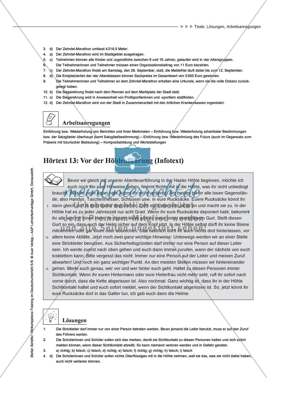 Hörkompetenz schulen: Hörtexte, Aufgaben und Lösungen Preview 10