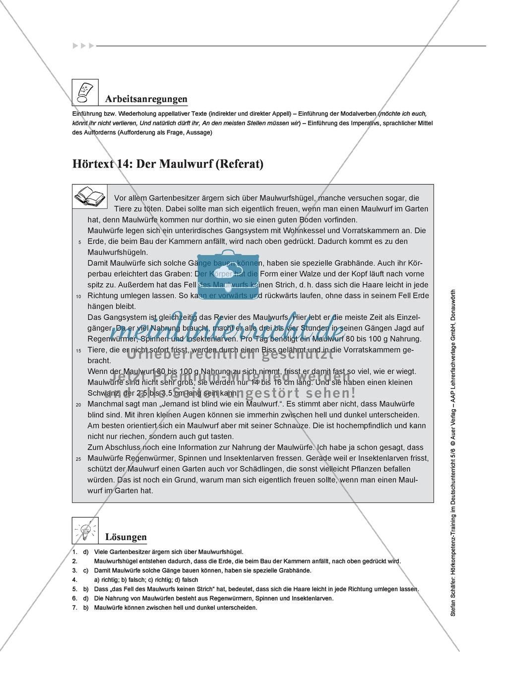 Hörkompetenz schulen: Hörtexte, Aufgaben und Lösungen Preview 11