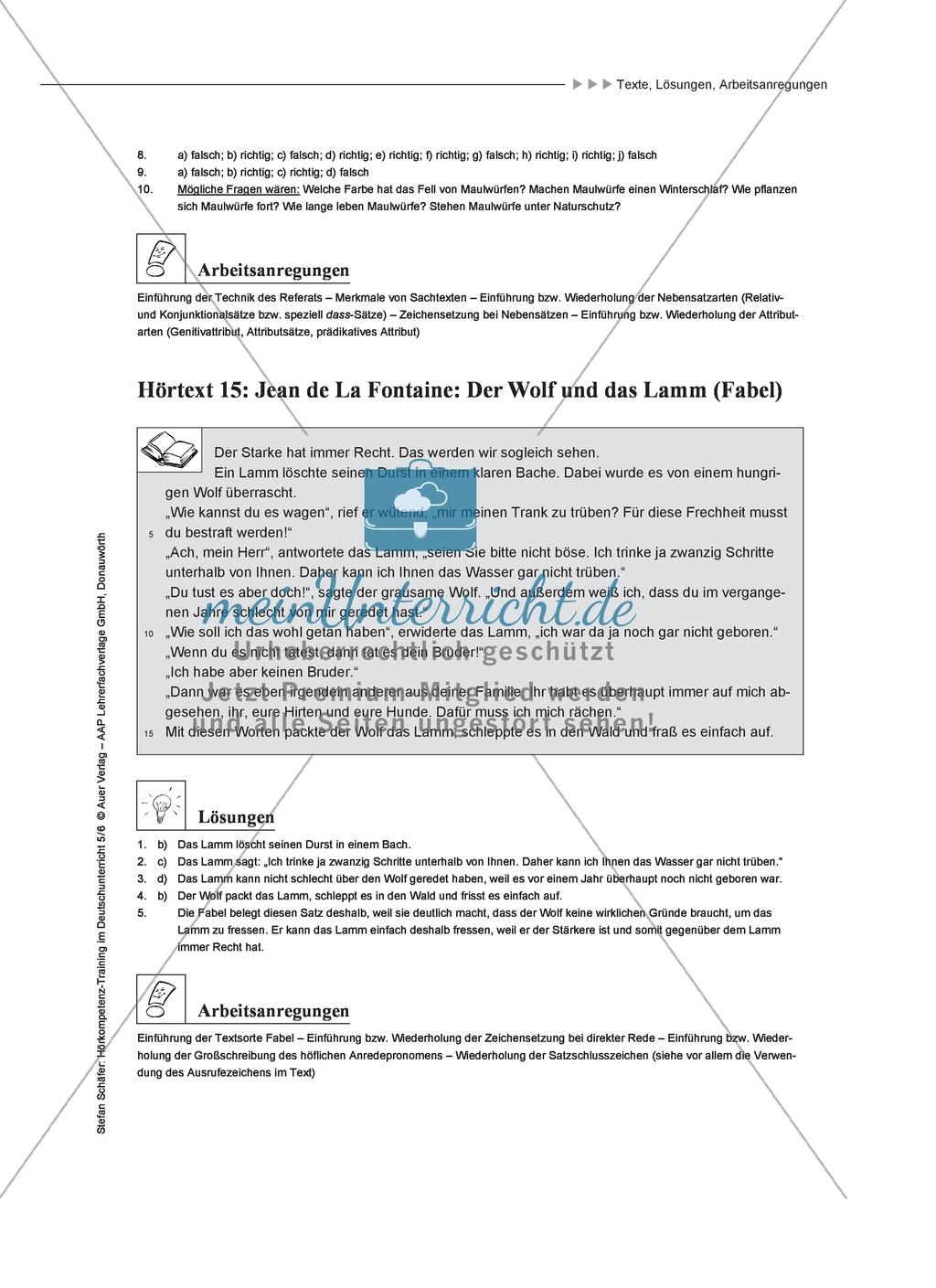 Hörkompetenz schulen: Hörtexte, Aufgaben und Lösungen Preview 12