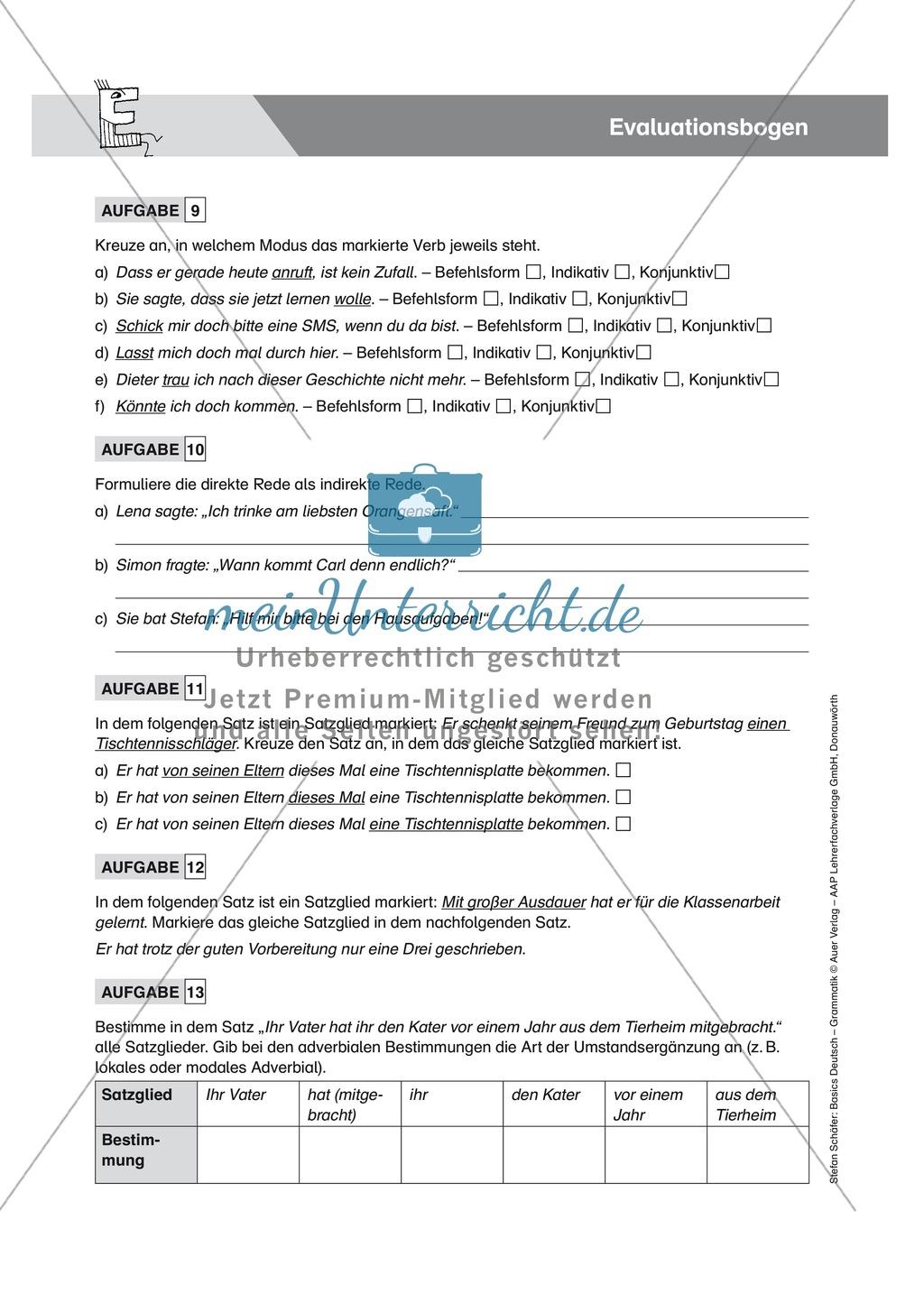Basics Grammatik: Evaluationsbogen mit Aufgaben + Lösungen Preview 2