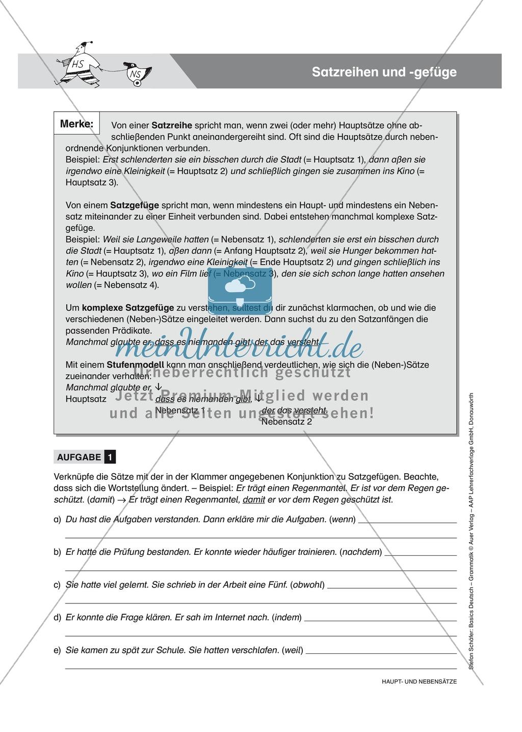 Satzreihen und Satzgefüge: Übungen und Lösung Preview 0