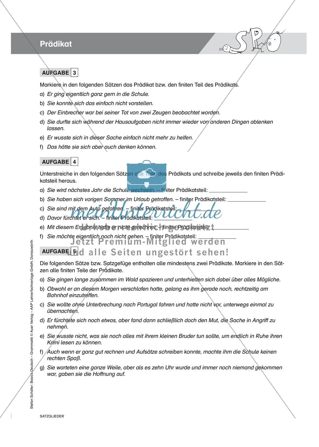 Satzgliedbestimmung Prädikat: Übungen, Merkkasten und Lösung Preview 1