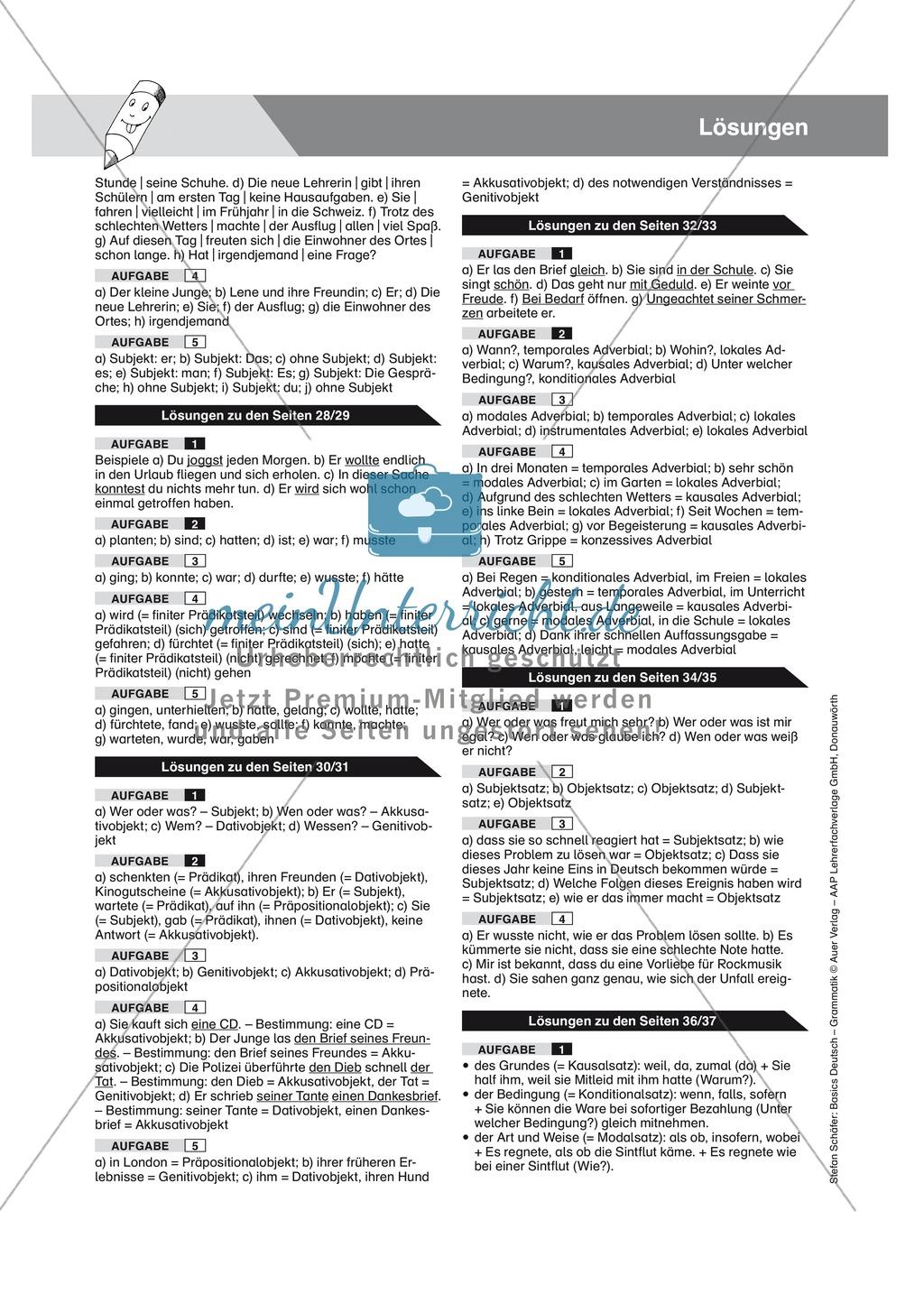 Satzgliedbestimmung Objekte: Übungen, Lösungen und Merkkasten Preview 2