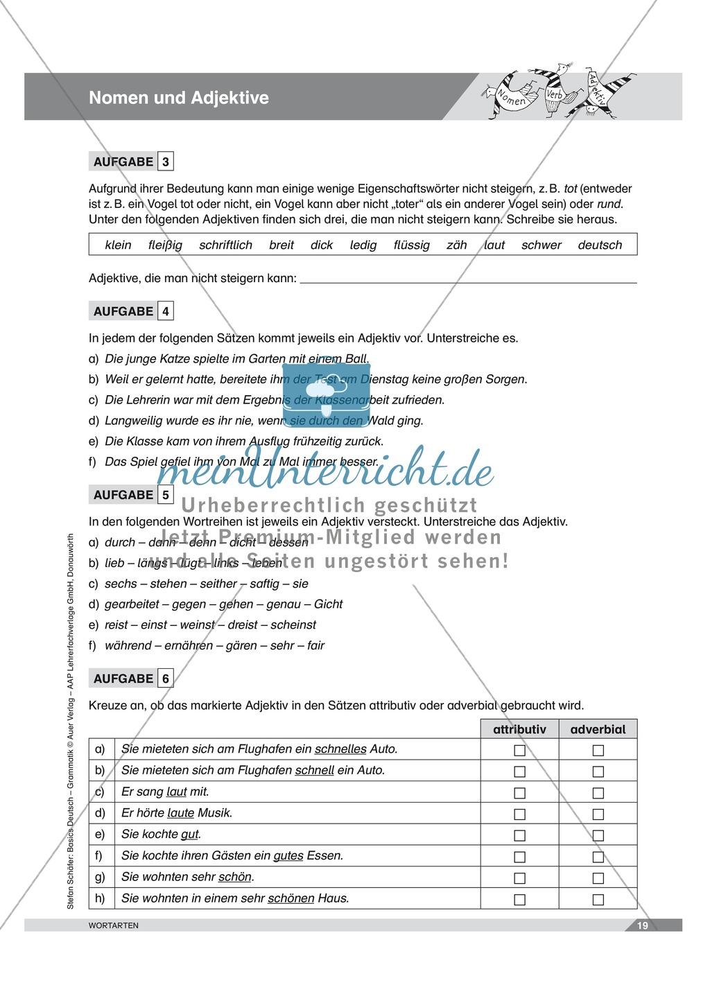 Basics Deutsch Grammatik Wortarten Nomen und Adjektive: Arbeitsblätter und Lösungen Preview 1