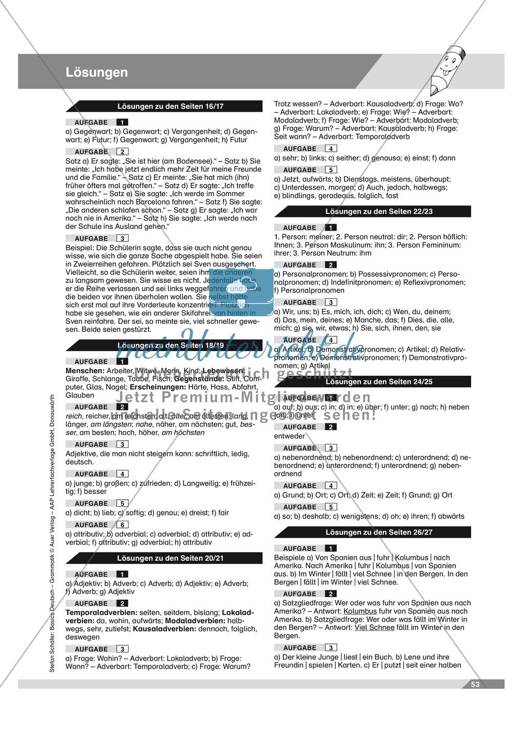 Basics Deutsch Grammatik Wortarten Adverbien: Arbeitsblätter und ...