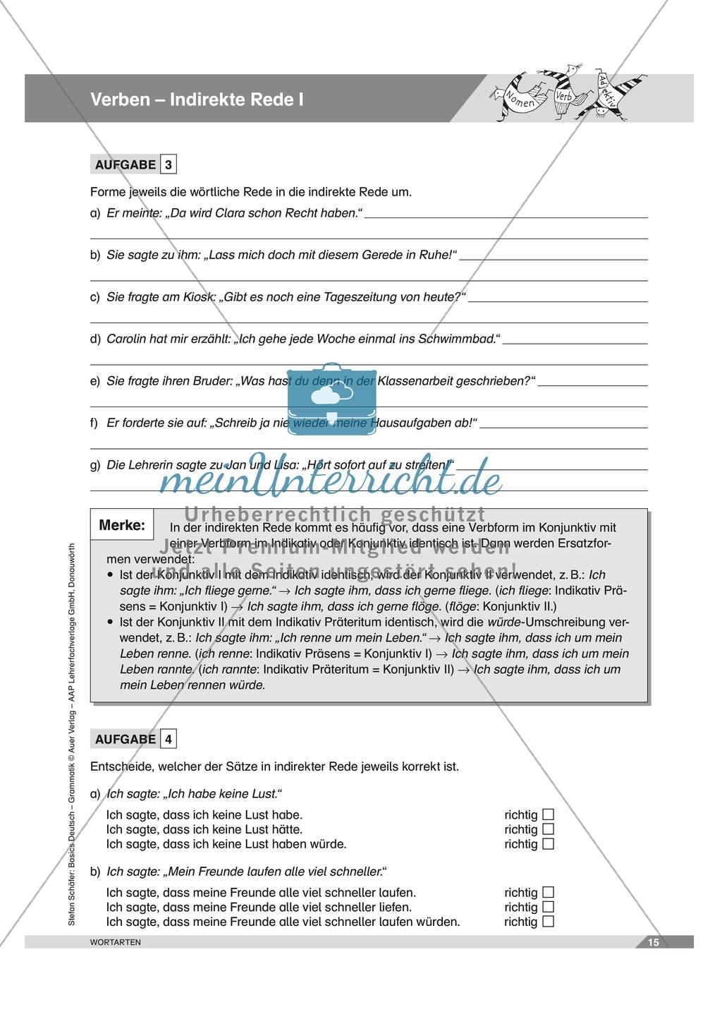 Basics Deutsch Grammatik Wortarten Verben: Arbeitsblätter und Lösungen Preview 9