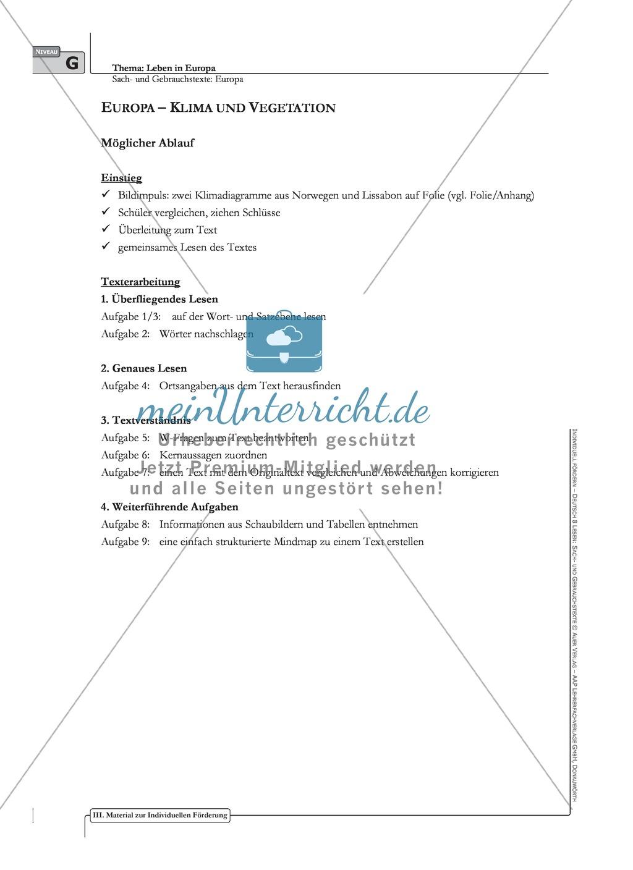 Sachtexte: Europa - Klima und Vegetation: Texterarbeitung mit Aufgaben und Lösungen Preview 0