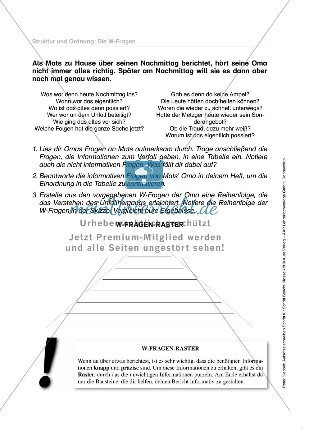 W-Fragen in einem Bericht: Übungen und Lösung Preview 0