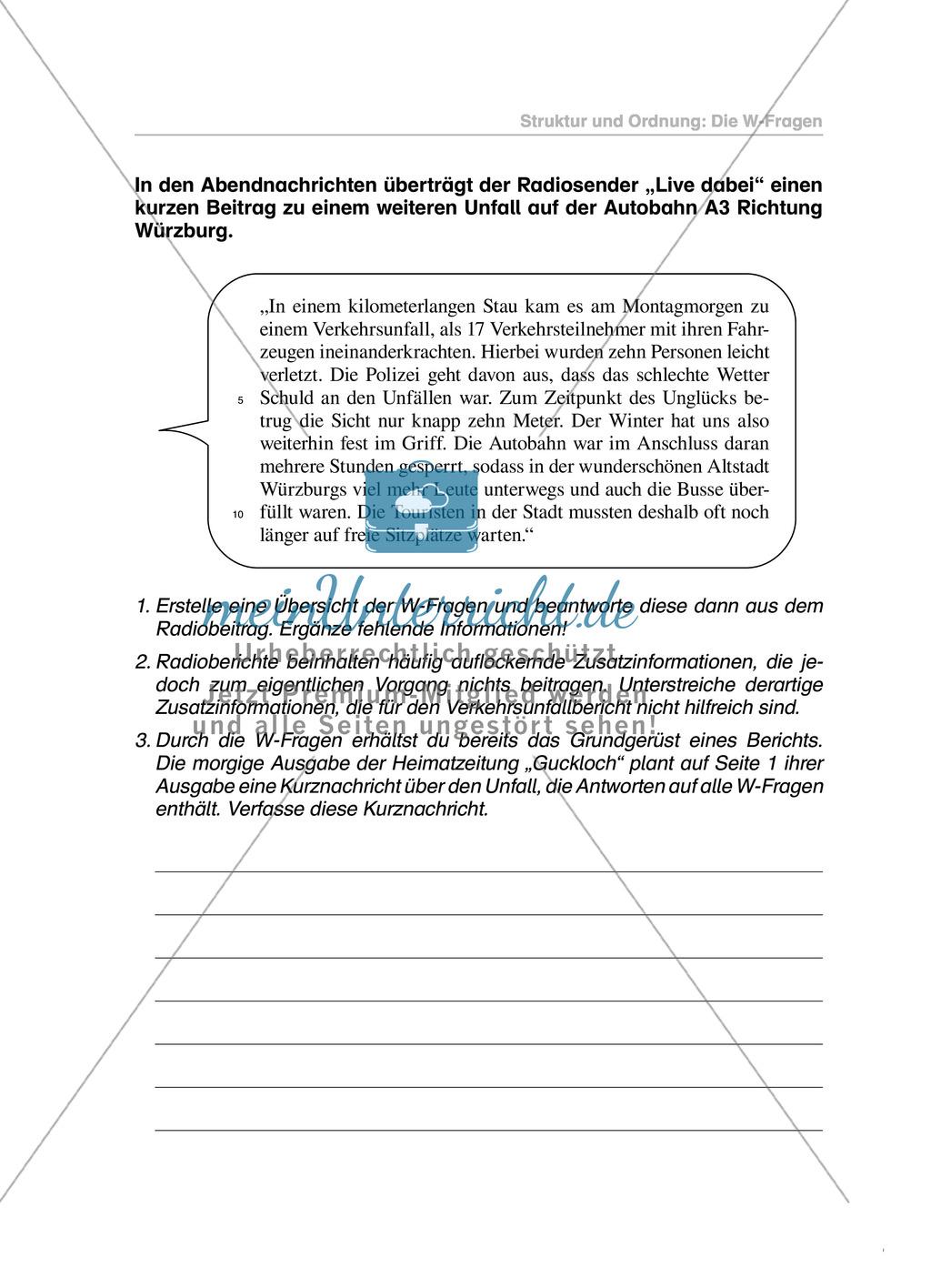 W-Fragen in einem Bericht: Übungen und Lösung Preview 1