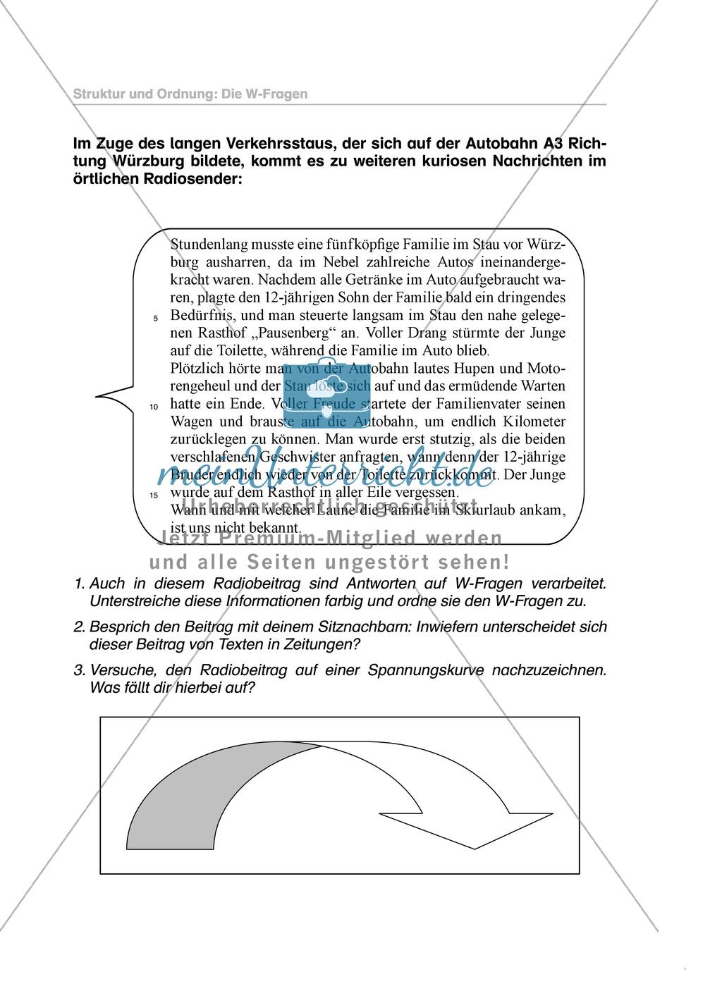 W-Fragen in einem Bericht: Übungen und Lösung Preview 2
