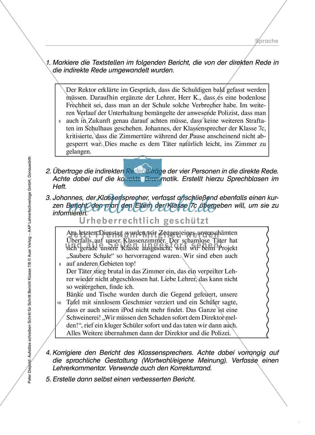 Sprache in einem Bericht: Übungen und Lösung Preview 4