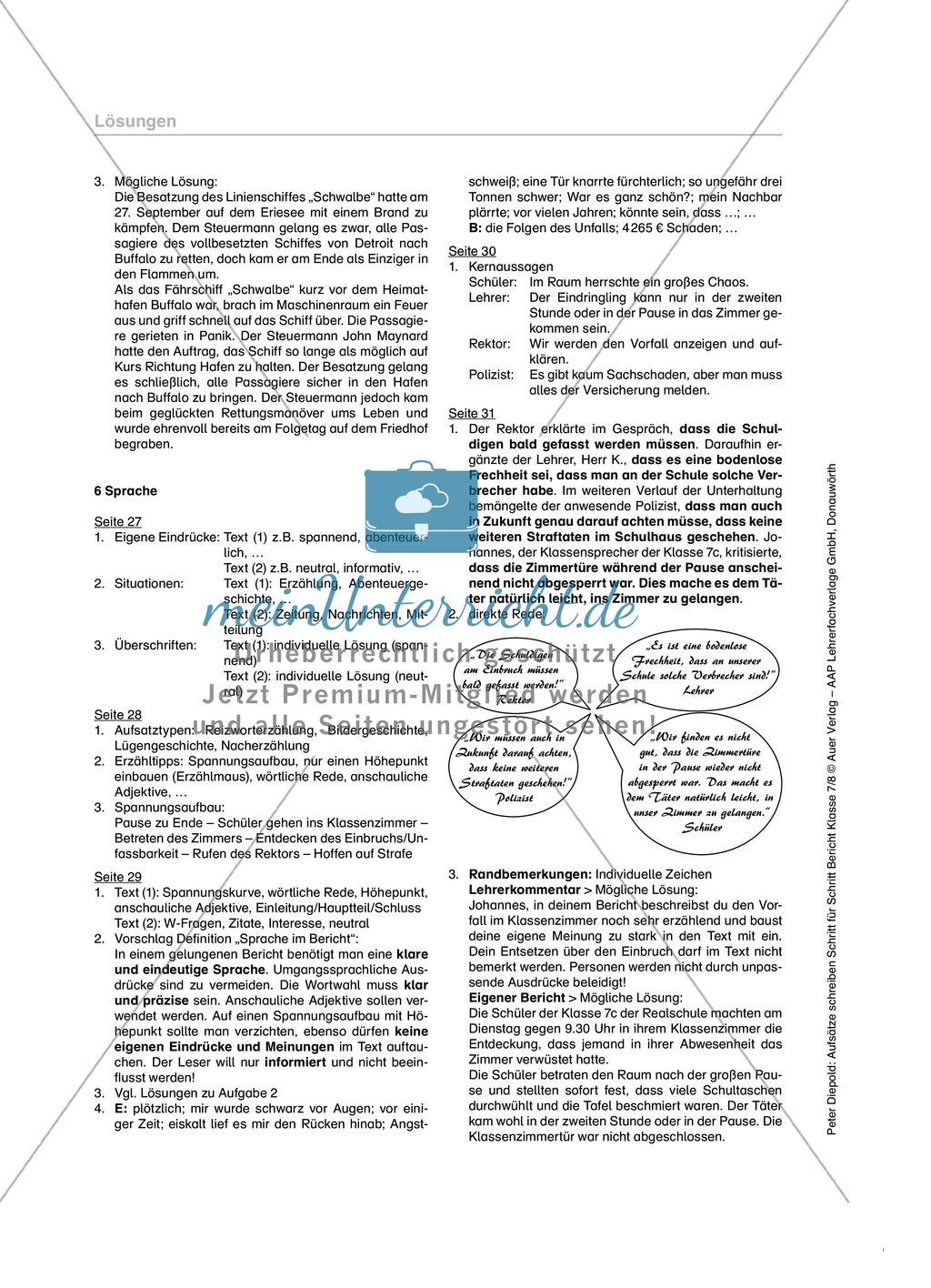 Sprache in einem Bericht: Übungen und Lösung Preview 5