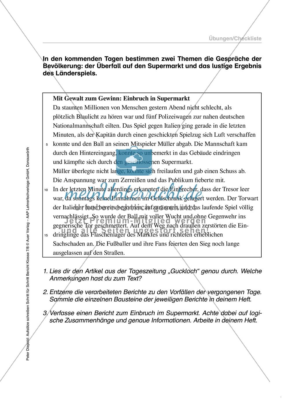 Berichte schreiben, Themen Einbruch und Fußball, Klasse 7/8: Übungen und Lösung Preview 5
