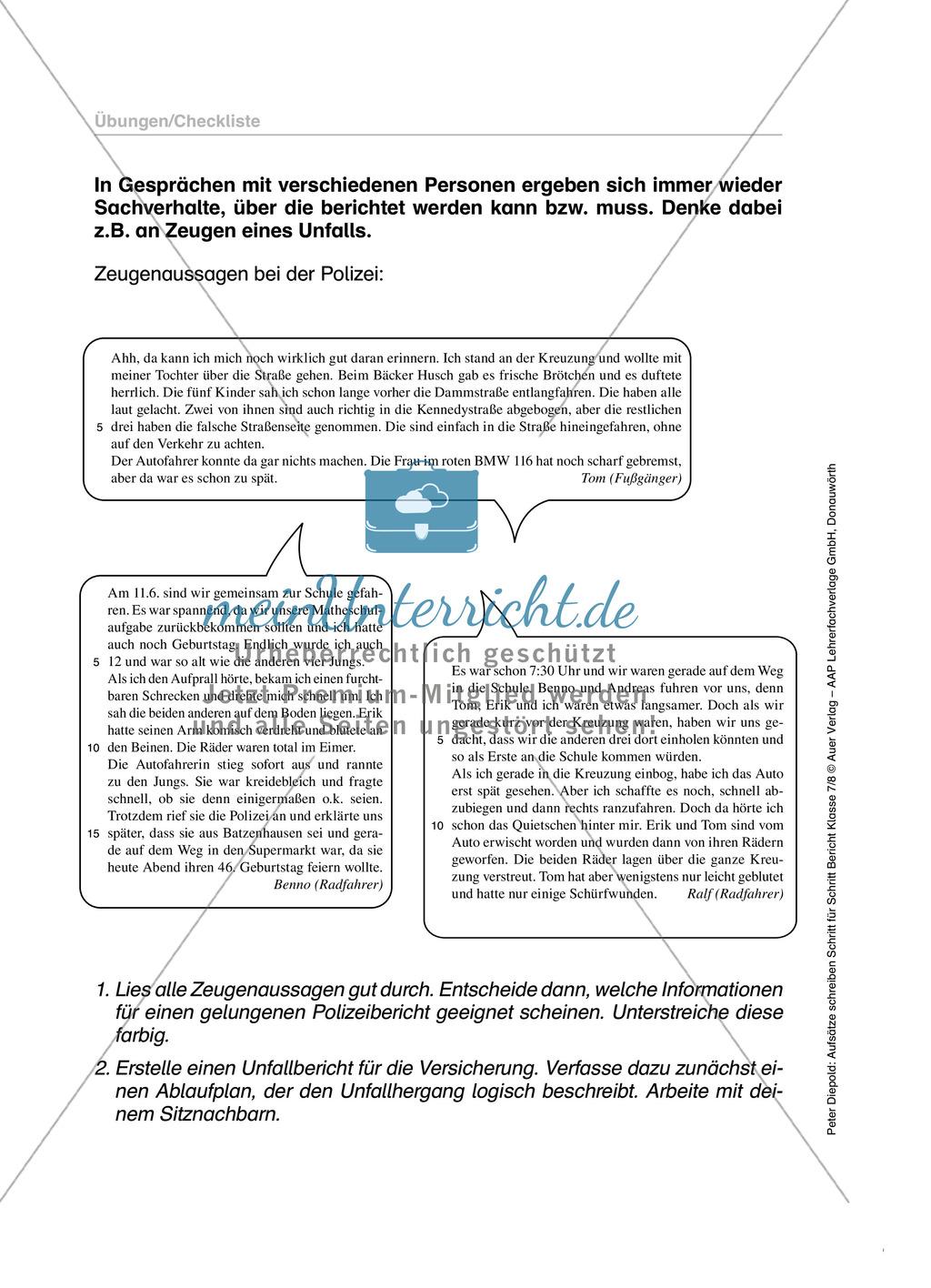 Berichte schreiben, Thema Verkehrsunfall: Übungen und Lösung Preview 1