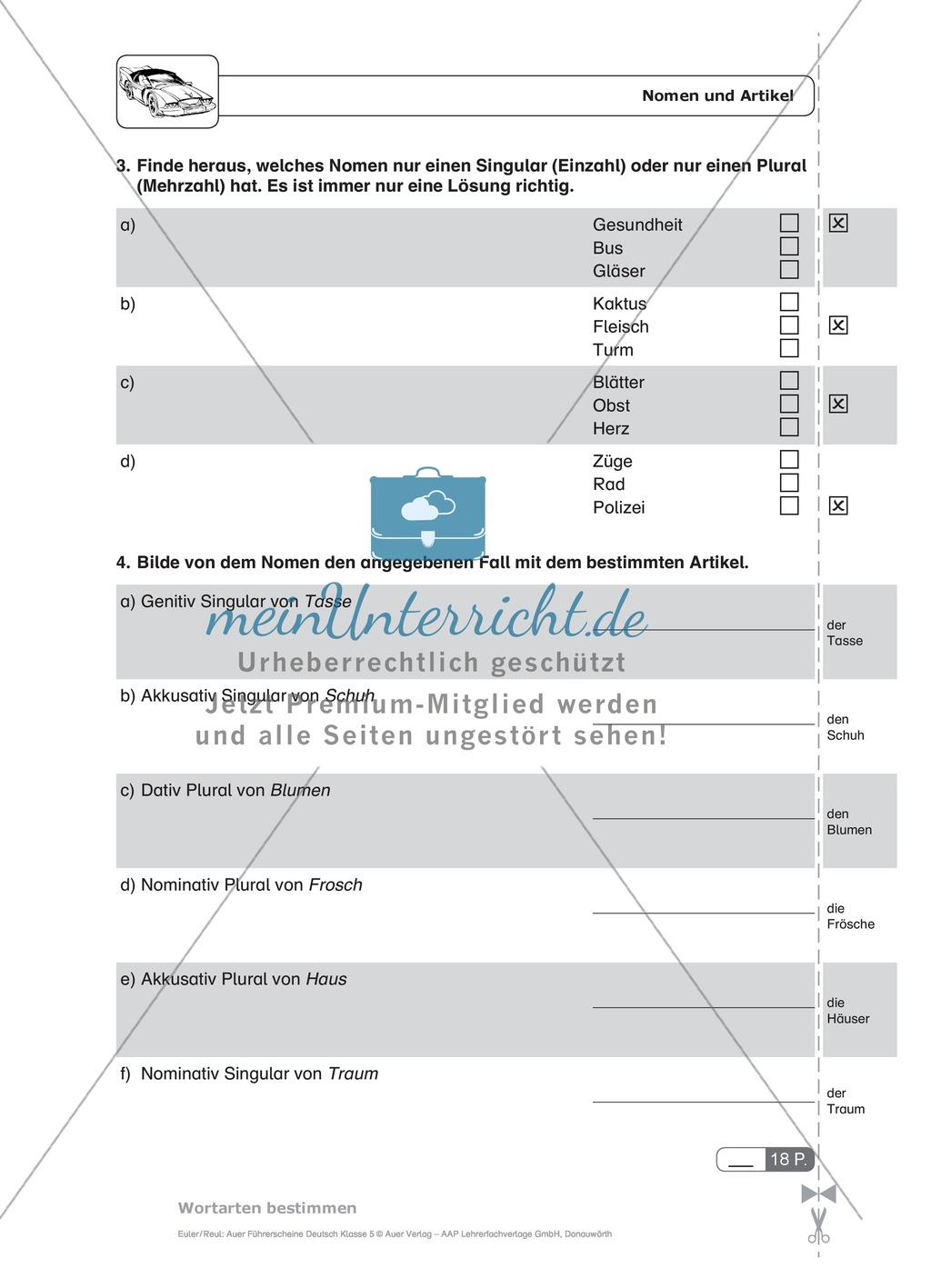 arbeitsblatt vorschule 187 deutsch wortarten 252bungen mit