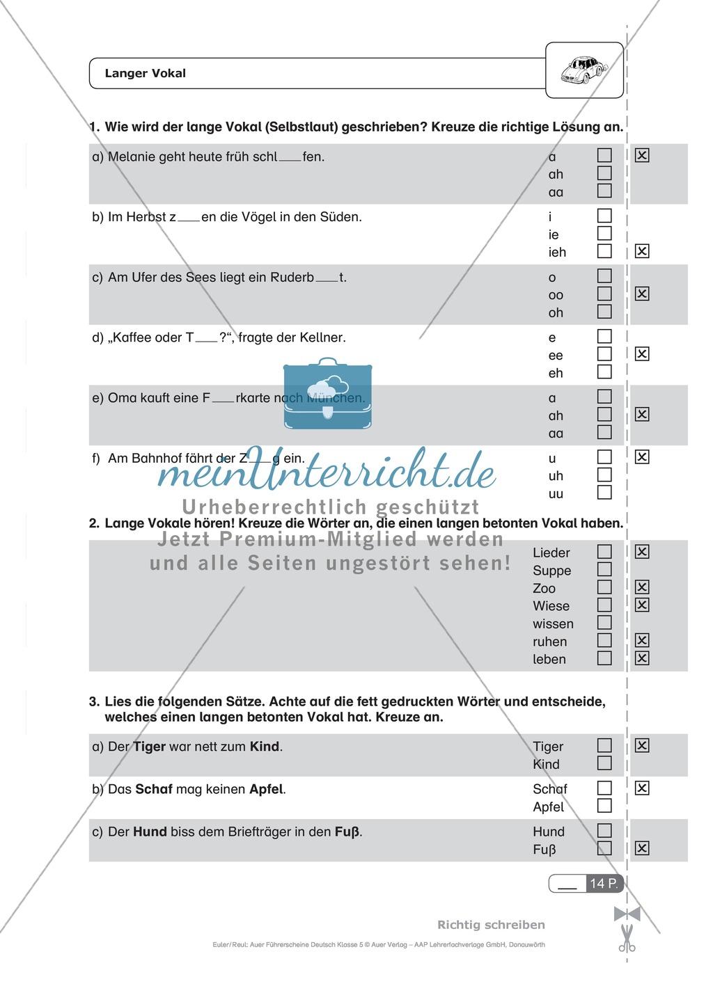 Rechtschreibung, kurze und lange Vokale: Schnell-Tests Preview 1