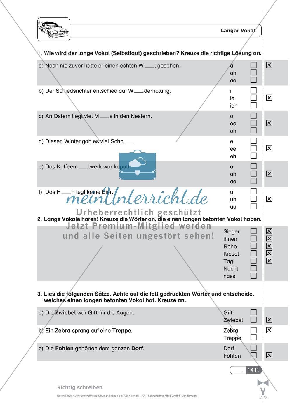 Rechtschreibung, kurze und lange Vokale: Schnell-Tests Preview 2