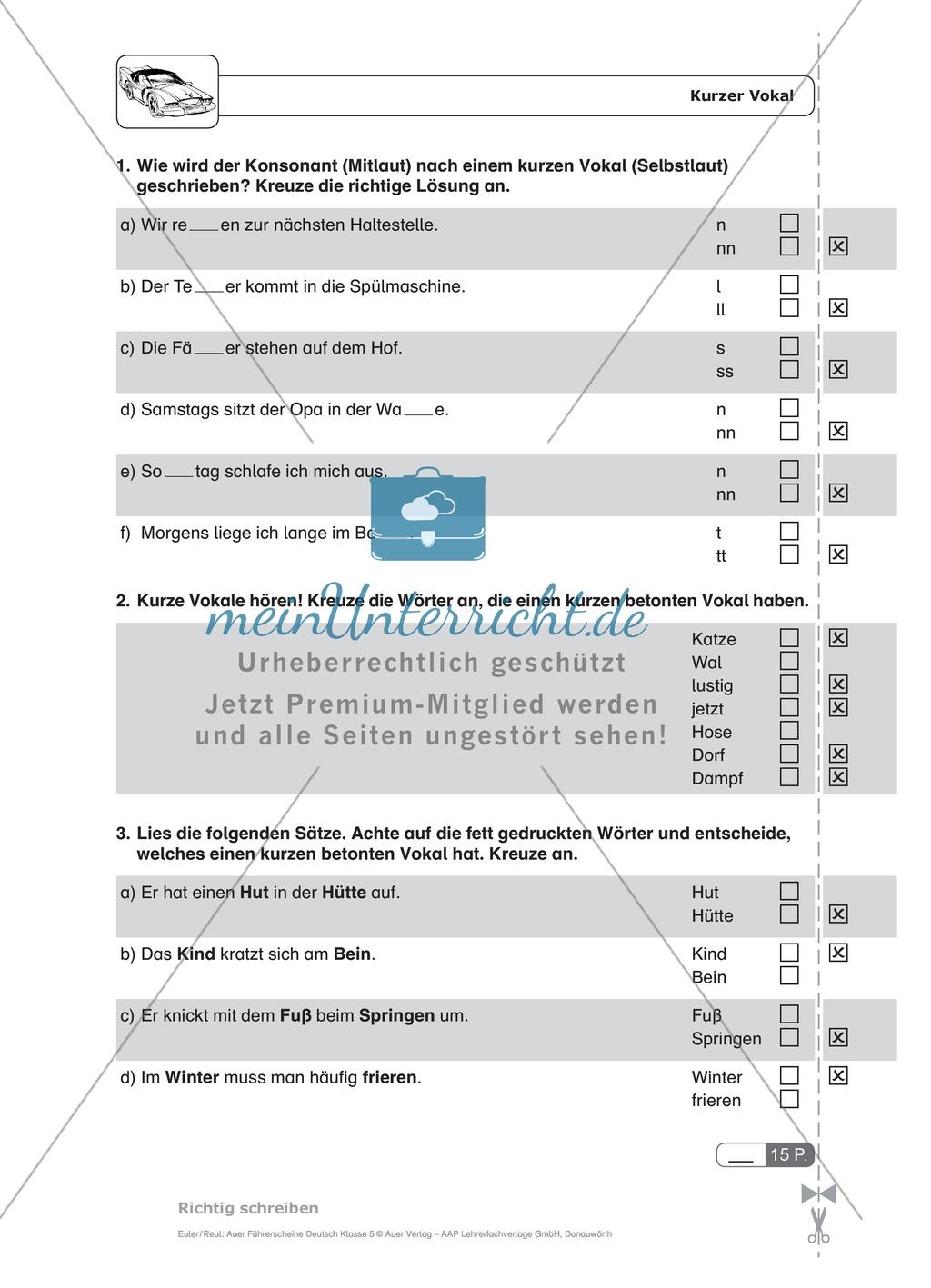 Rechtschreibung, kurze und lange Vokale: Schnell-Tests Preview 3