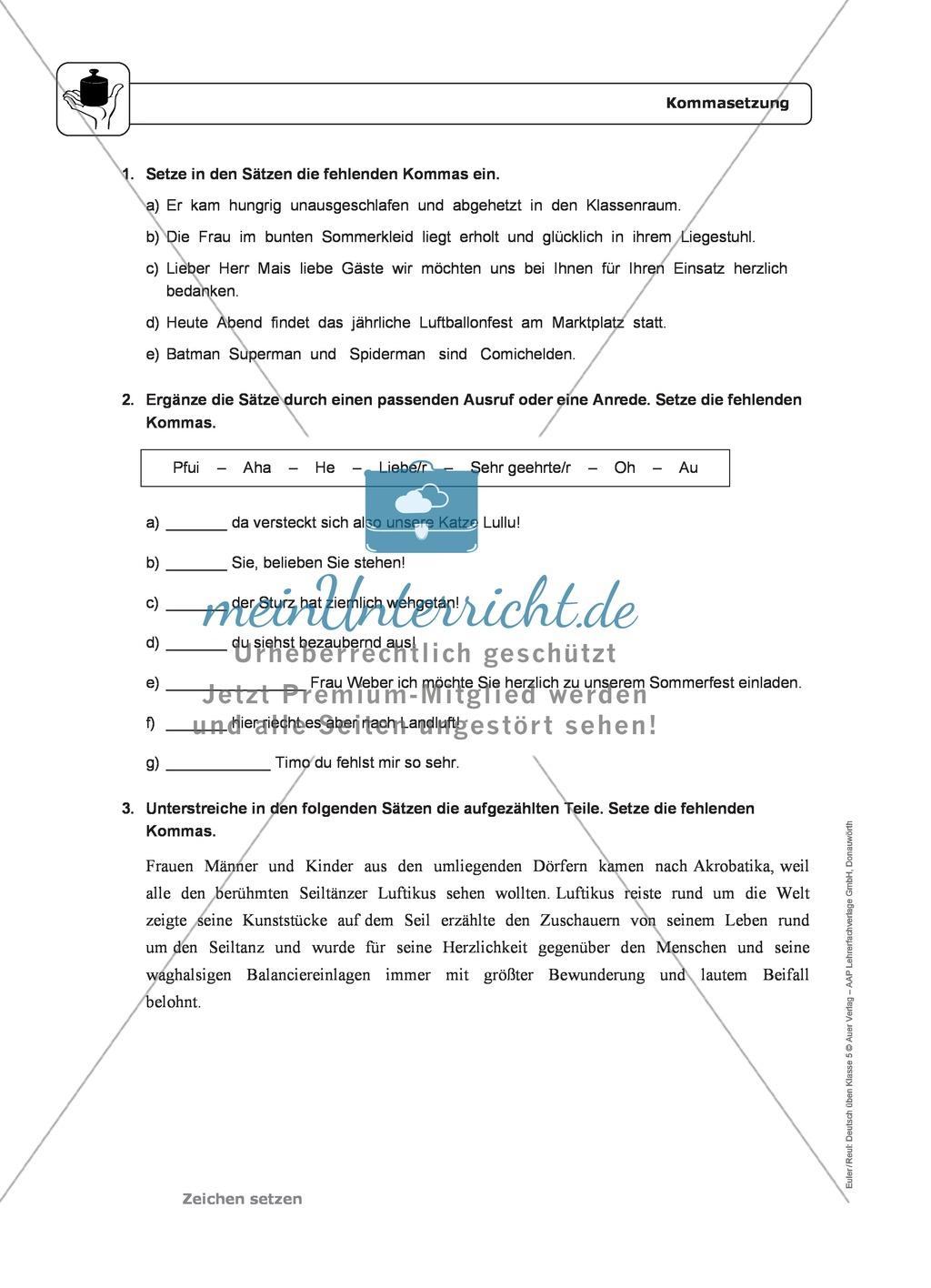 Zeichensetzung: Kommasetzung: Grundregeln, Arbeitsblätter und ...
