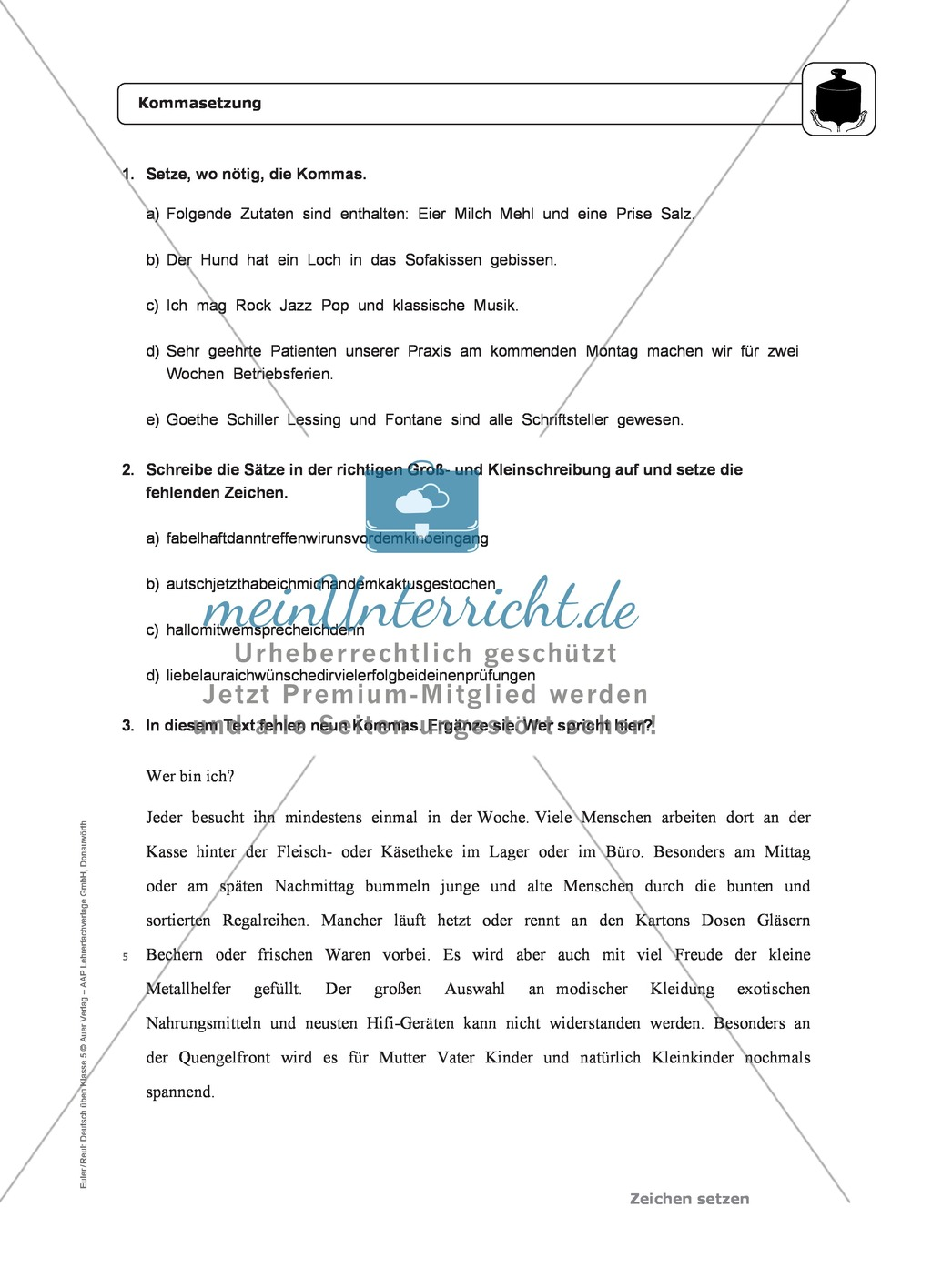 Zeichensetzung: Kommasetzung: Grundregeln, Arbeitsblätter und Lösungen Preview 2