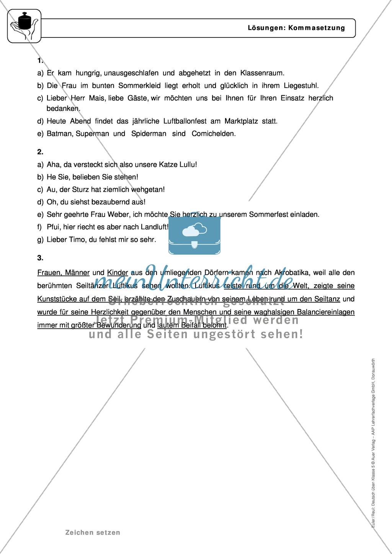 zeichensetzung kommasetzung grundregeln arbeitsbl228tter