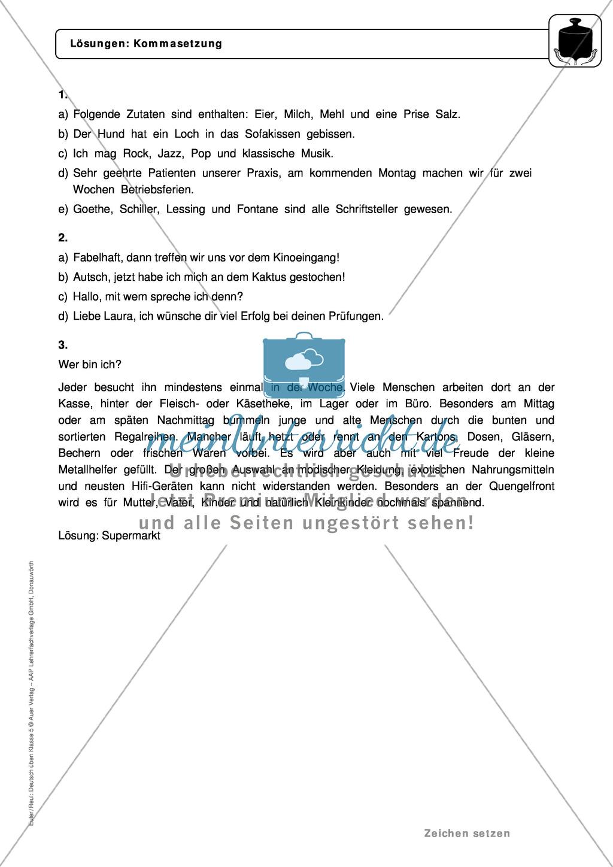 Zeichensetzung: Kommasetzung: Grundregeln, Arbeitsblätter und Lösungen Preview 4
