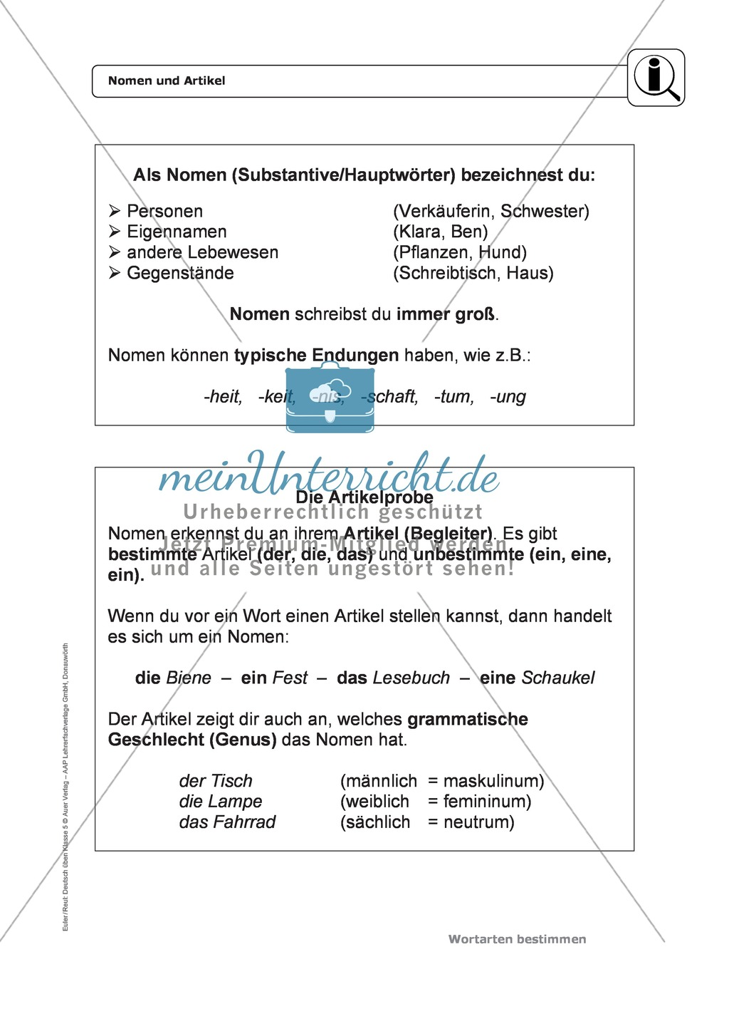 Wortarten: Nomen und Artikel: Regeln, Arbeitsblätter und Lösungen Preview 1