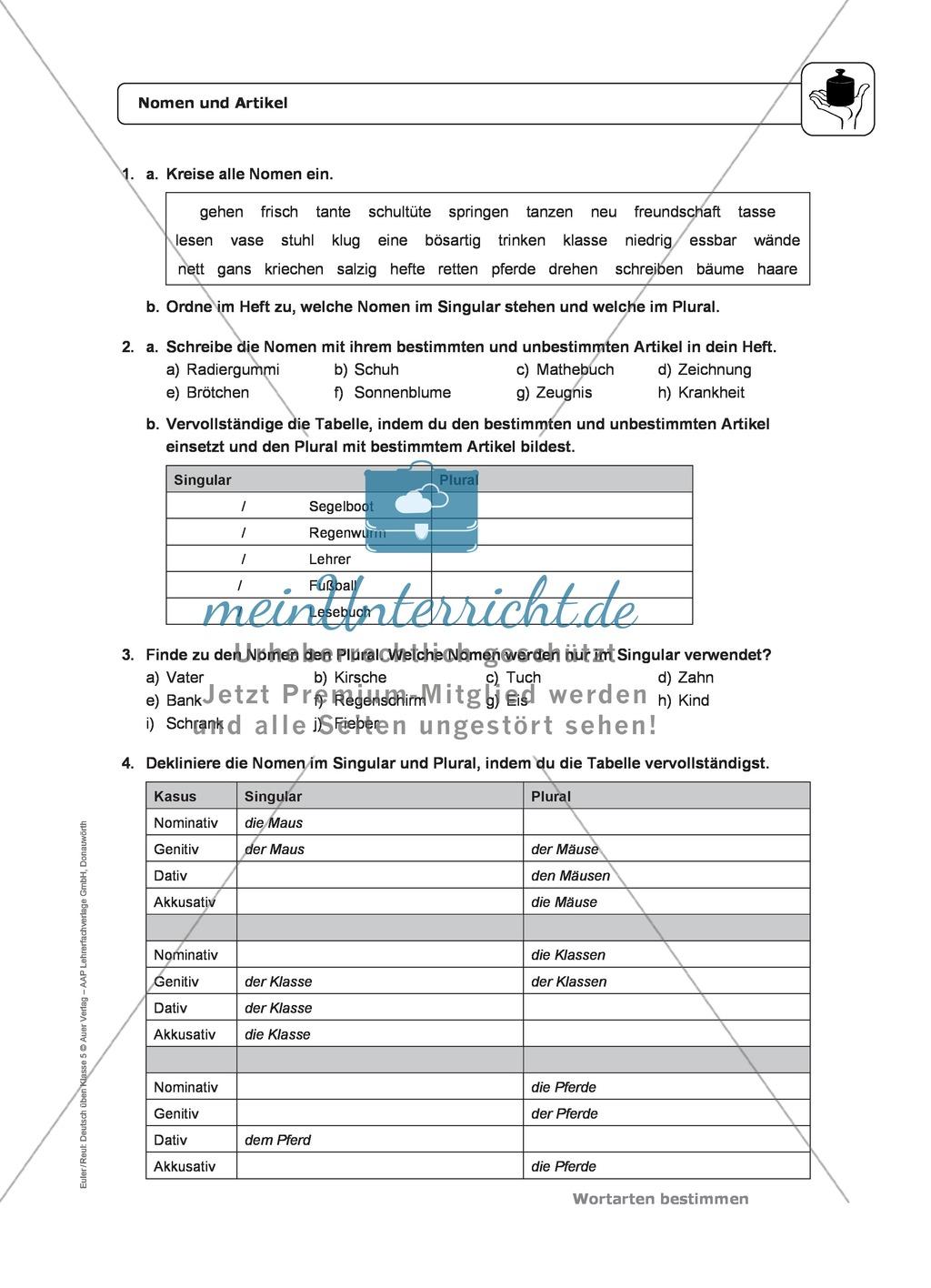 Wortarten: Nomen und Artikel: Regeln, Arbeitsblätter und Lösungen ...