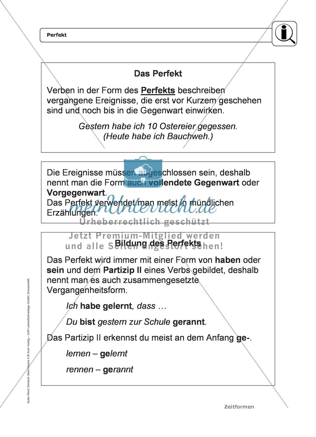Zeitformen: Perfekt: Regeln, Arbeitsblätter und Lösungen Preview 0
