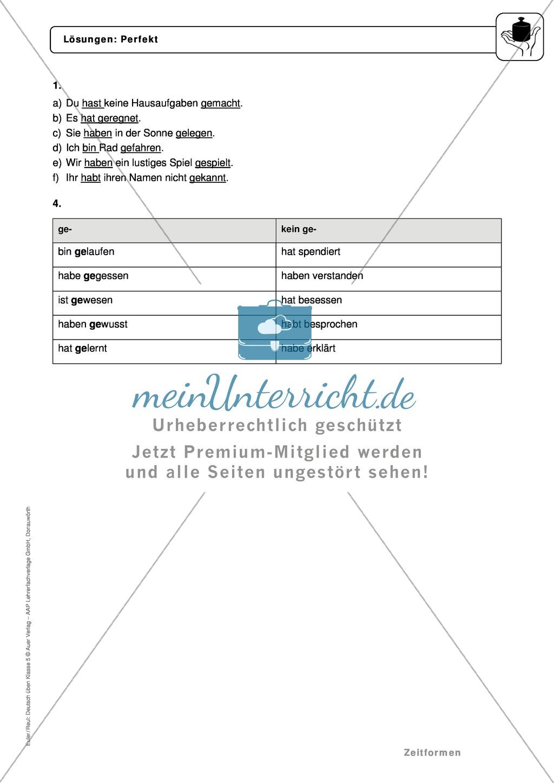Zeitformen: Perfekt: Regeln, Arbeitsblätter und Lösungen Preview 3