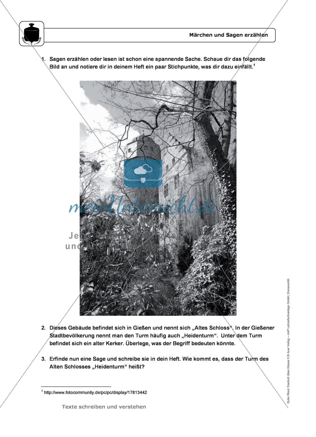Schreiben: Märchen und Sagen erzählen: wichtige Hinweise, Übungen und Lösungen Preview 2