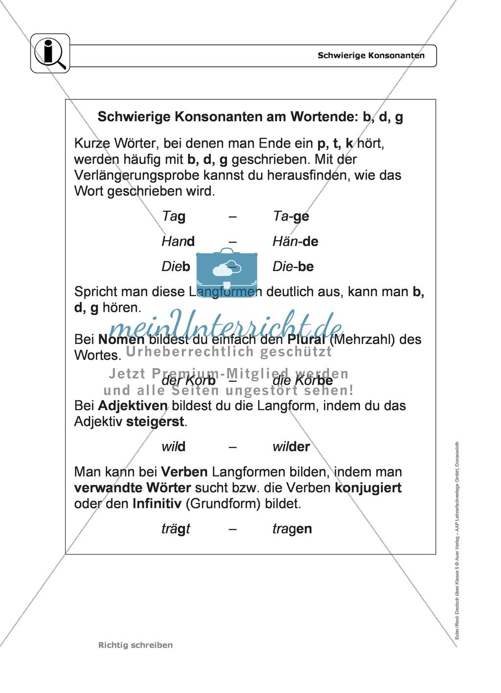 Rechtschreibung: schwierige Konsonanten: Regeln, Arbeitsblätter und ...