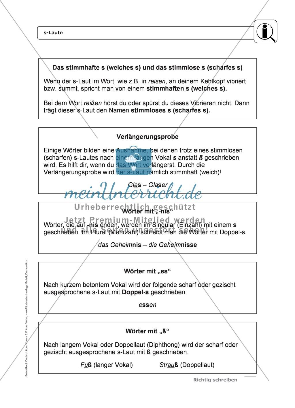 Rechtschreibung: s-Laute: Regeln, Arbeitsblätter und Lösungen Preview 0